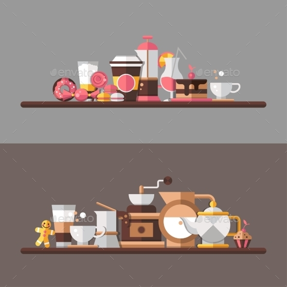 GraphicRiver Coffee Shop Shelves 10544457