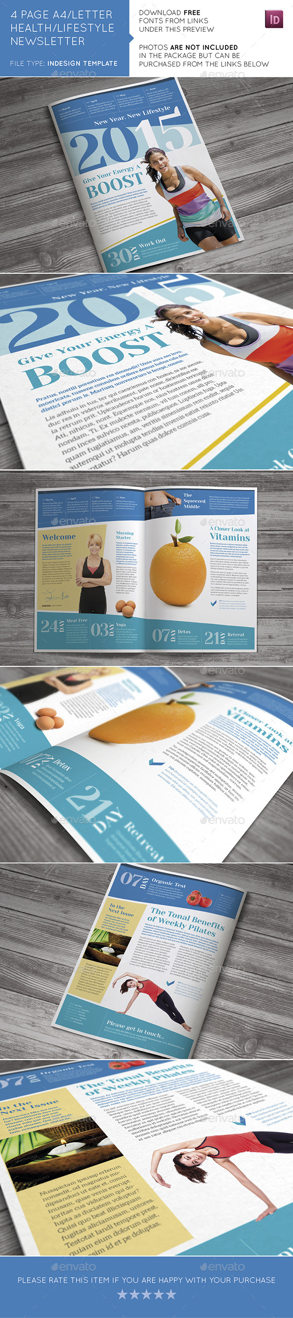 GraphicRiver 4 Page A4 and US Letter Health Lifestyle Newslette 10544675
