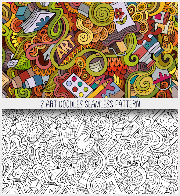 GraphicRiver 2 Art Doodles Seamless Pattern 10545165