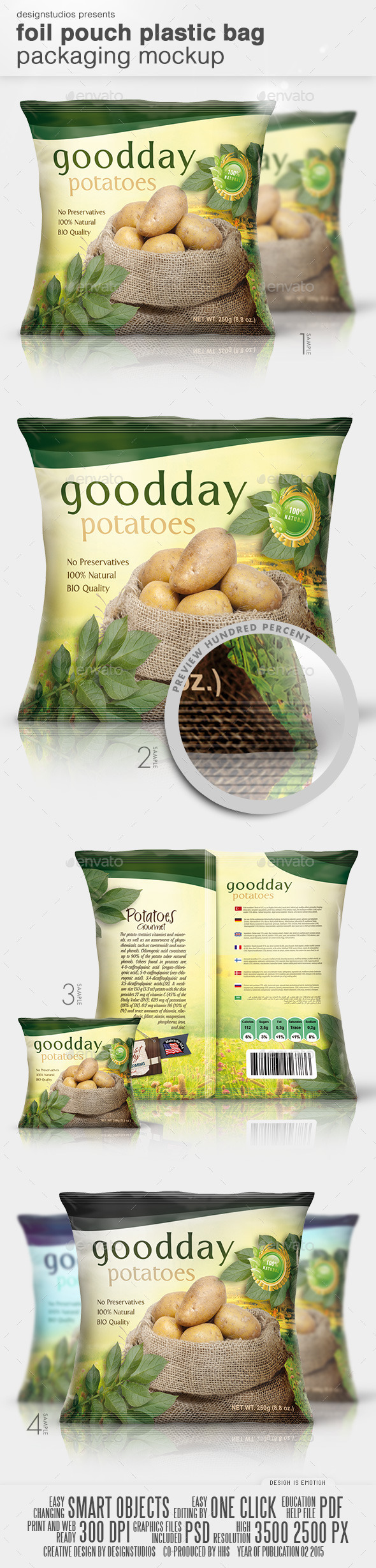 GraphicRiver Foil Pouch Plastic Bag Packaging Mock-Up 10545171