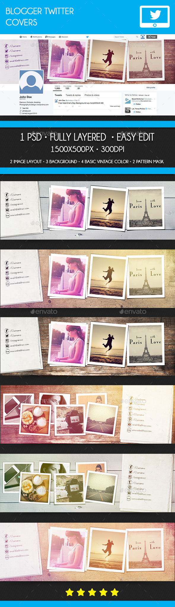 GraphicRiver Blogger Twitter Covers 10513920