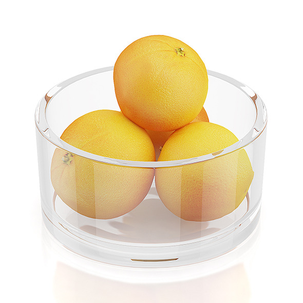 3DOcean Oranges in glass bowl 10545269