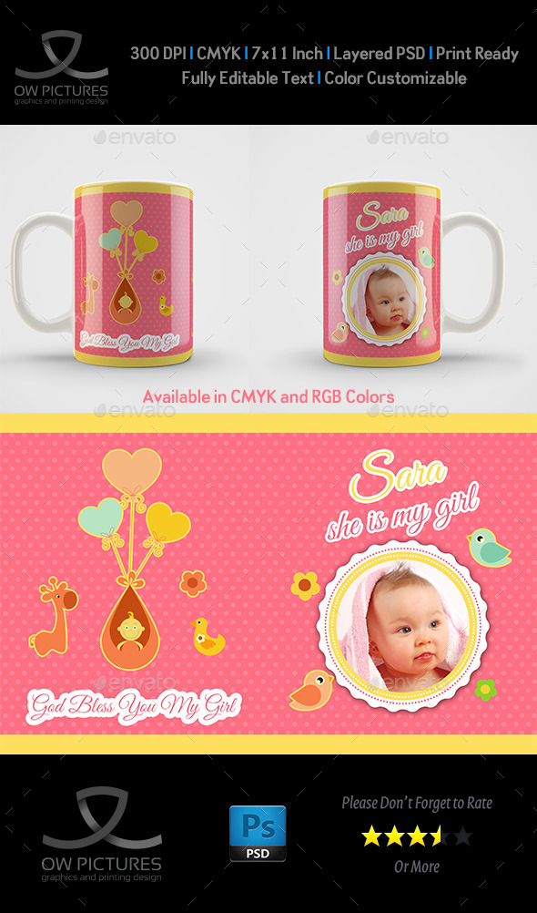 GraphicRiver Girl Born Mug Art Design Template 10545516