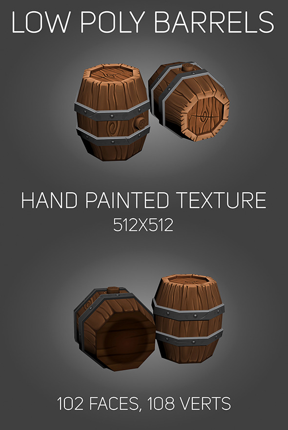3DOcean Low poly Barrels 10545519