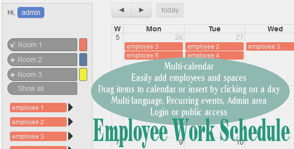 CodeCanyon Employee Work Schedule Multi-calendar 10545683