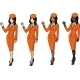 4 Stewardesses in Orange Suits - GraphicRiver Item for Sale