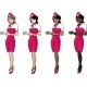 4 Stewardesses in Pink Skirts - GraphicRiver Item for Sale