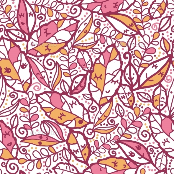 GraphicRiver Cartoon Autumn Leaves Seamless Pattern 10546903