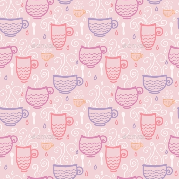GraphicRiver Tea Cup Pattern 10547093