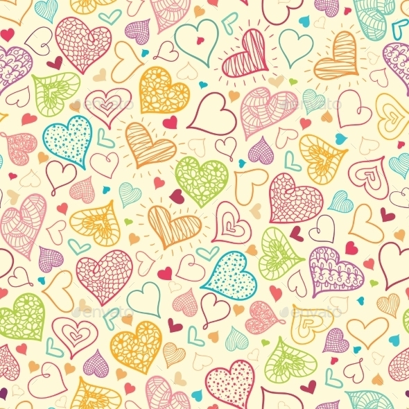 GraphicRiver Doodle Hearts Seamless Pattern Background 10547186
