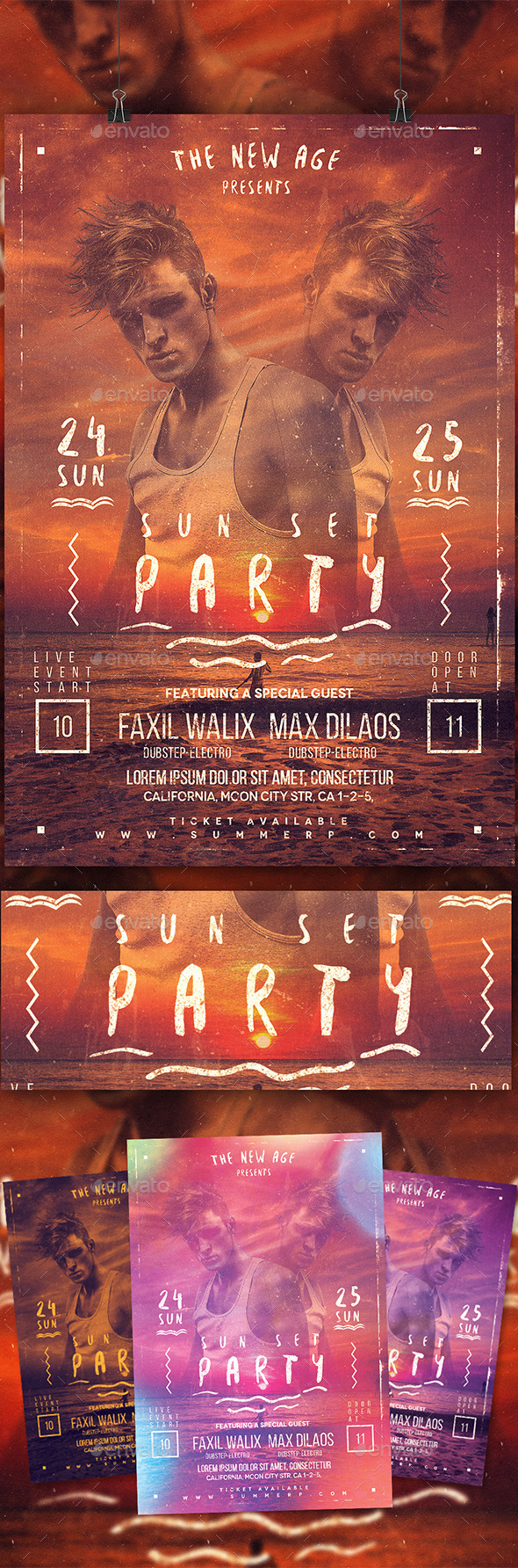 GraphicRiver Sunset Pary Flyer Template 10547187