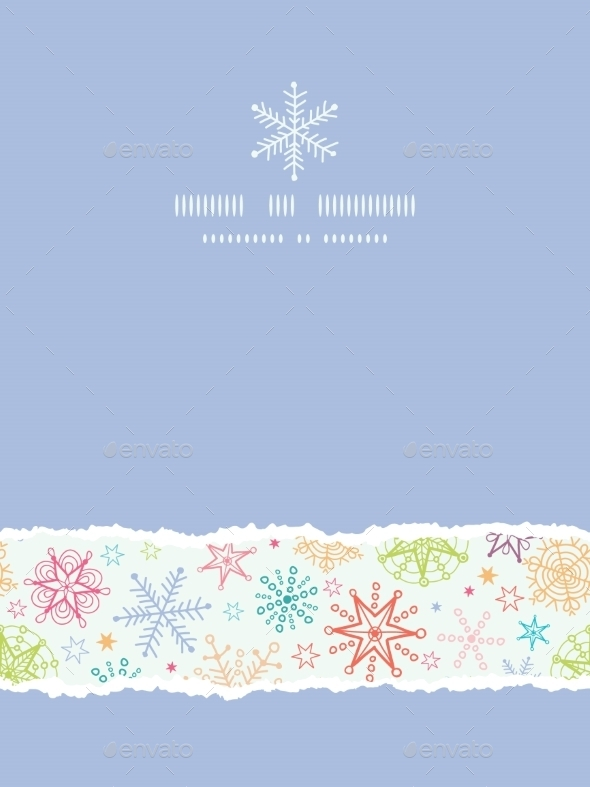 GraphicRiver Colorful Doodle Snowflakes Vertical Torn Frame Sea 10547246