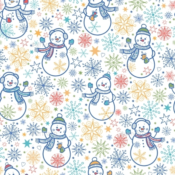 GraphicRiver Snowmen Pattern 10547248