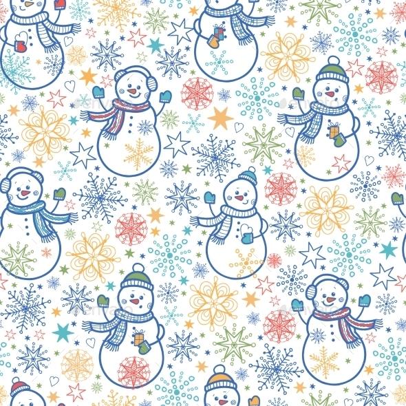 GraphicRiver Snowmen Pattern 10547248