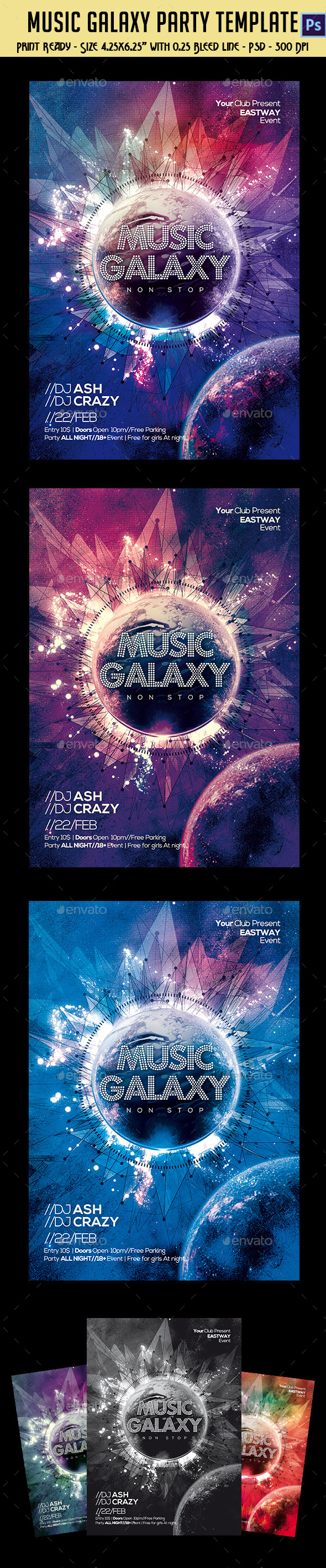GraphicRiver Music Galaxy Party Template 10547386