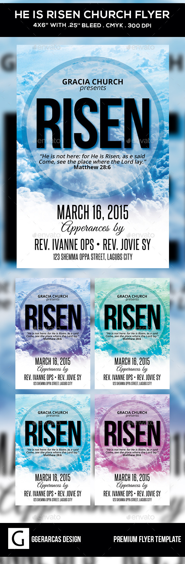 GraphicRiver He Is Risen Church Flyer 10547761
