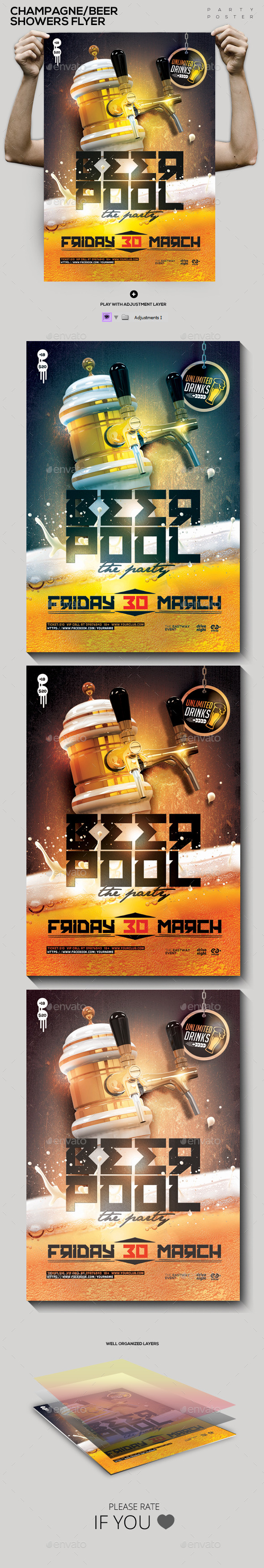 GraphicRiver Beer Champagne Pool Showers Flyer Flyer Poster 10547797