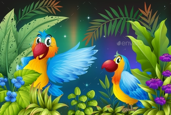 GraphicRiver Two Birds in a Dark Forest 10548271