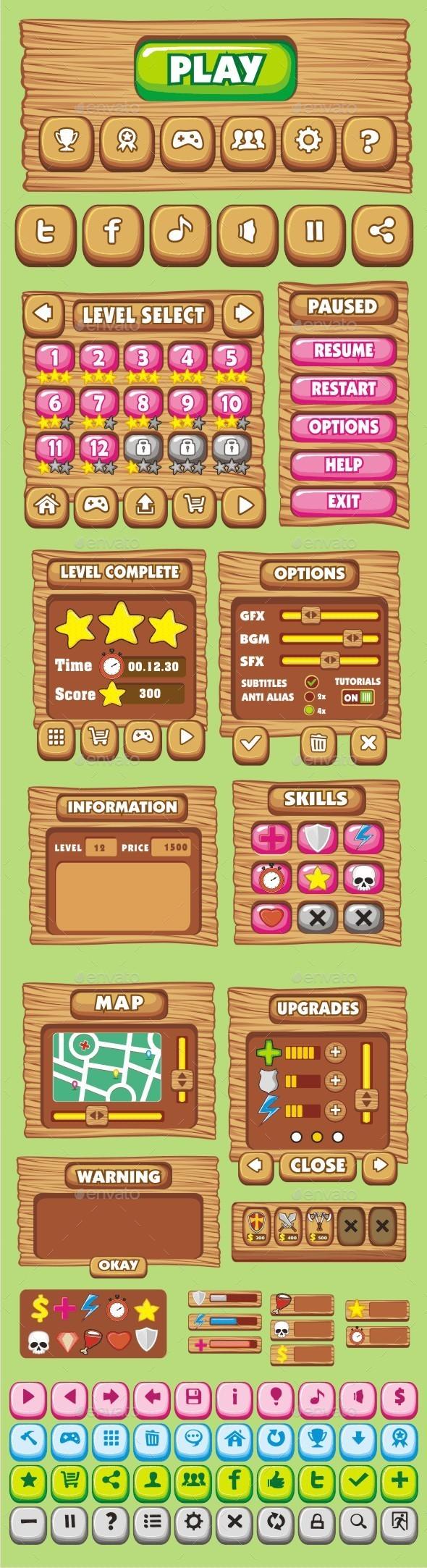 GraphicRiver cartoon game gui pack 10 10548312