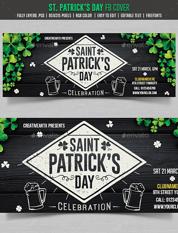 GraphicRiver St Patrick s Day FB cover 10548682