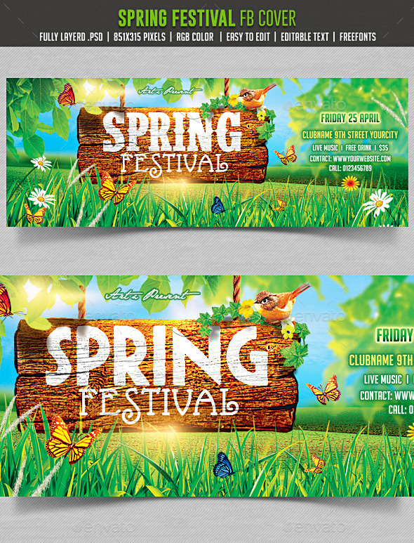 GraphicRiver Spring Festival Facebook cover 10548744