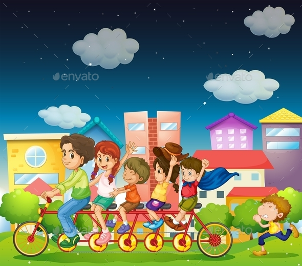 GraphicRiver Family Riding Bikes 10548943