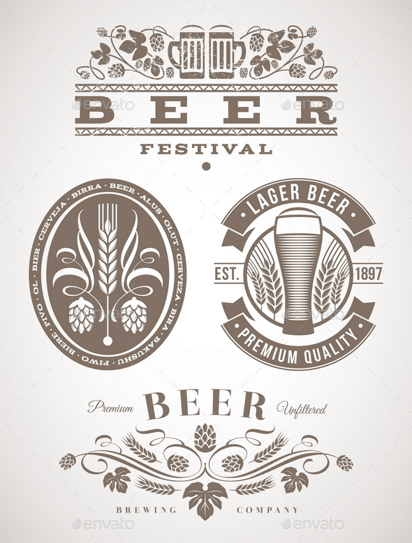 GraphicRiver Beer Emblems and Labels 10549437