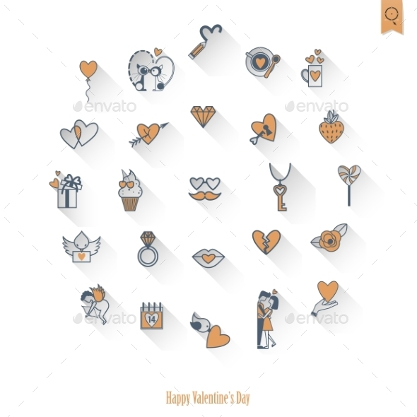 GraphicRiver Happy Valentines Day Icons 10549488