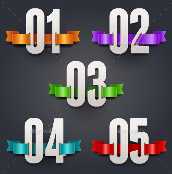GraphicRiver Cardboard Numbers with Color Ribbons 10549566