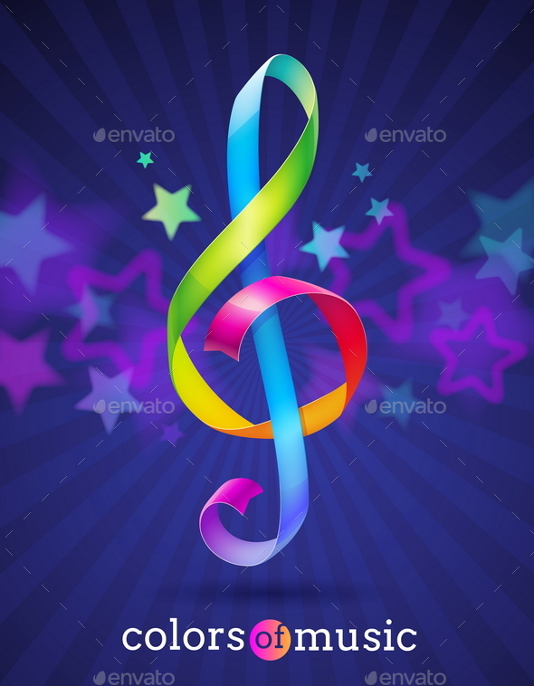 GraphicRiver Multicolored Treble Clef 10550026