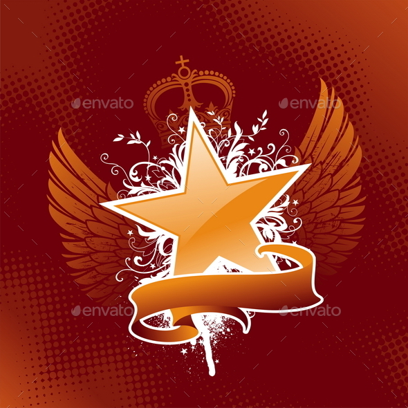 GraphicRiver Grunge Star with Wings and Banner 10550037