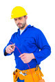 Electrician cutting wire with pliers over white background