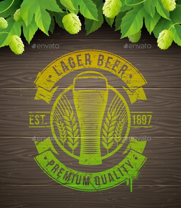 GraphicRiver Beer Emblem on Wooden Surface and Ripe Hop 10550147