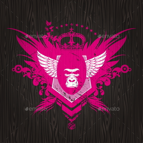 GraphicRiver Abstract Heraldic Emblem with Gorilla 10550171