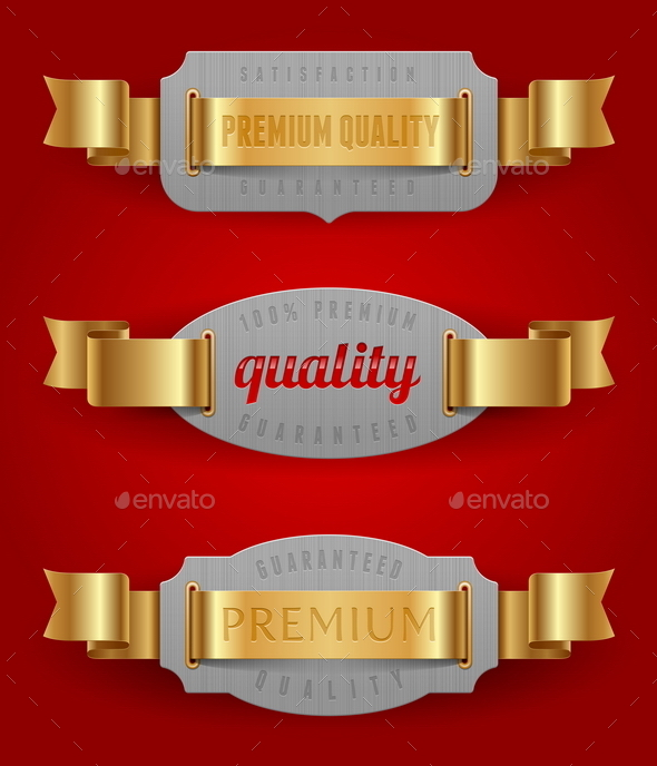 GraphicRiver Decorative Quality Label with Golden Ribbons 10550173