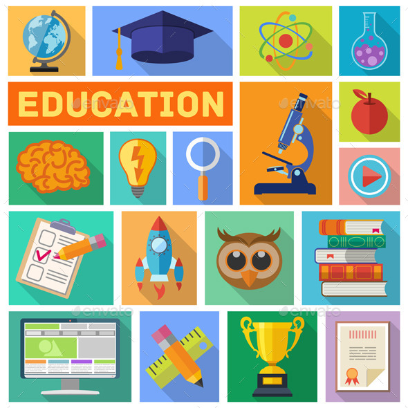 GraphicRiver Education Flat Icon Set 10550255