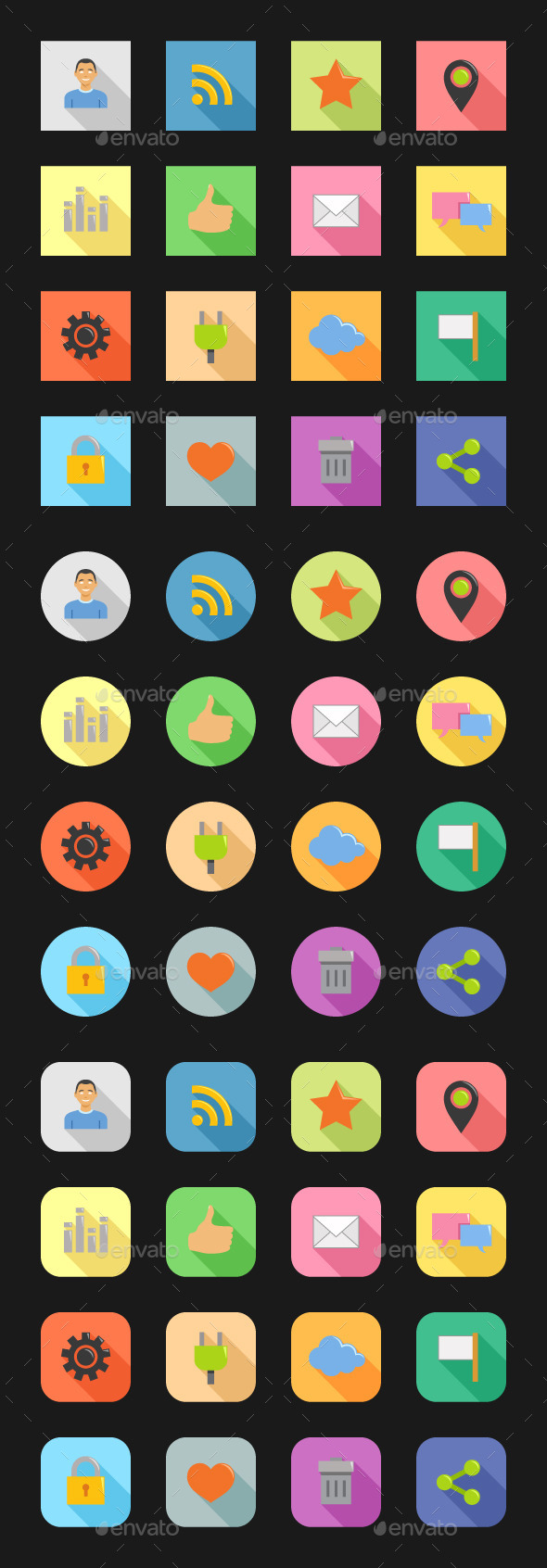 GraphicRiver Color Flat Icons Social Network 10550315