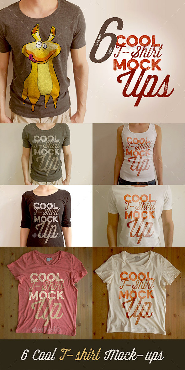 GraphicRiver 6 Retro Vintage Style T-shirt Mock-ups 10550347
