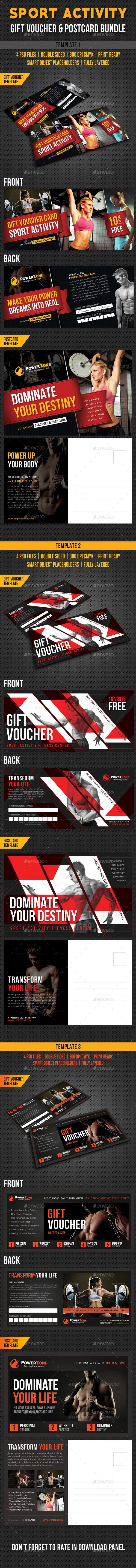 GraphicRiver 3 Sport Activity Gift Voucher and Postcard Bundle 10550350