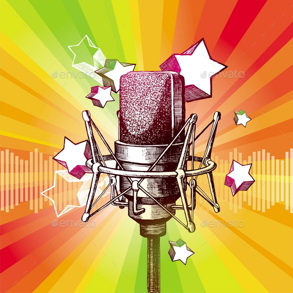 GraphicRiver Hand Drawn Microphone and Stars 10550518