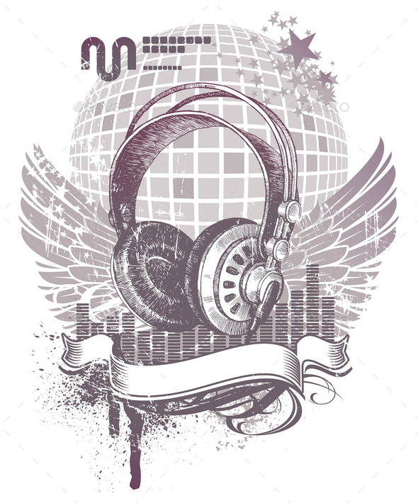 GraphicRiver Heraldry with Hand Drawn Headphones 10550661