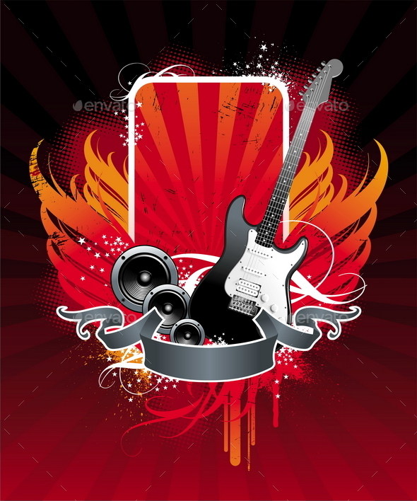 GraphicRiver Grunge Musical Banner with Electro Guitar and Loud 10550691