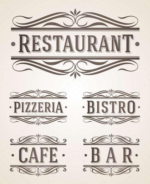 GraphicRiver Vintage Restaurant and Cafe Labels and Signs 10550711