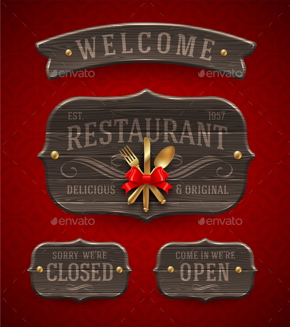 GraphicRiver Set of Vintage Wooden Restaurant Signboards 10550730