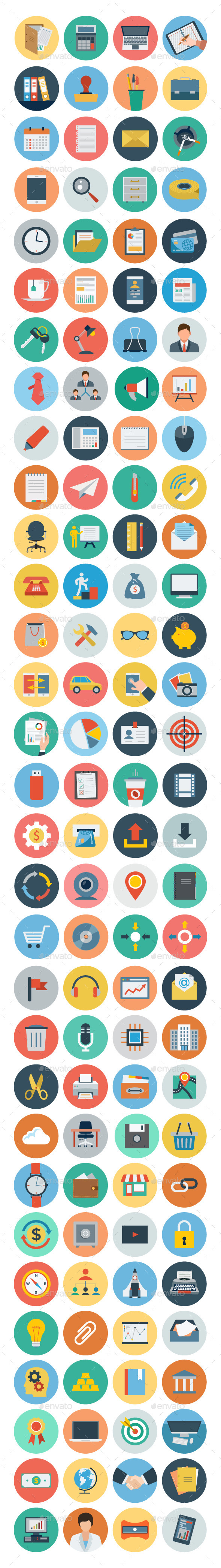 GraphicRiver 120& Office Flat Icons 10550759