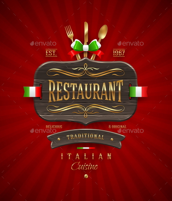 GraphicRiver Vvintage Wooden Signboard of Italian Restaurant 10550804