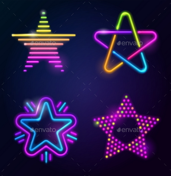 GraphicRiver Set of Decorative Vector Neon Stars 10550820