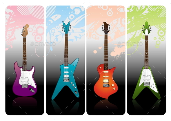GraphicRiver Set of Different Electro Guitars 10550869