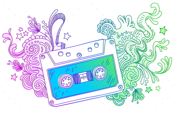 GraphicRiver Dand Drawn Audio Cassette with Line Art Decor 10550904