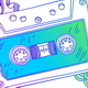 Dand Drawn Audio Cassette with Line Art Decor - GraphicRiver Item for Sale
